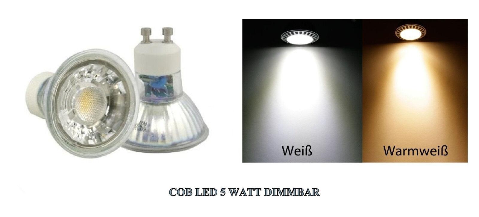 Dimmbare 5W = 50W COB High Power Reflektor LED Leuchtmittel 230V Weiss Warmweiss