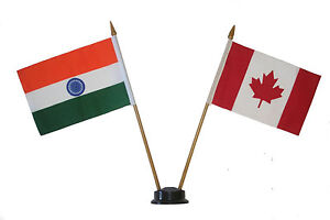 CANADA-amp-INDIA-4-034-X-6-034-DOUBLE-STICK-FLAG-WITH-BLACK-STAND-ON-10-034-PLASTIC-POLE
