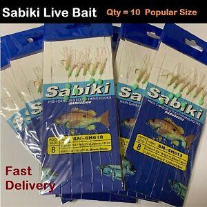 x10-Sabiki-Live-Bait-Jigs-Size-8-Hook-Rigs-Yellow-Tail-Slimies-live-bait-jig