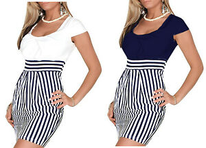 Damen Kleid Sommer Tunic Marine Mini gestreift Dunkel Blau ...