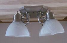 Nickel 12 VOLT RV Trailer White Alabaster Ceiling 4 Arm Dinette Light Lamp Nice!