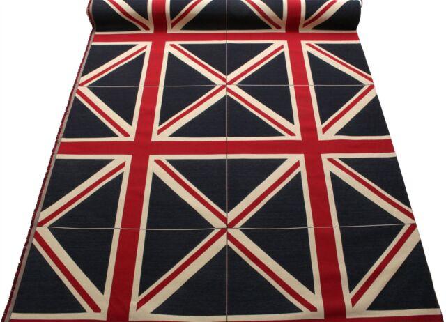 Large Colour Woven Union Jack Flag Heavy Linen Look Cotton