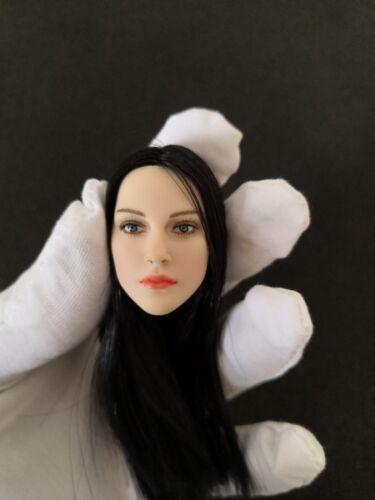 "1:6 Scale Female Black Long Hair Pale Head Model Toy For 12/"" Woman Figure Body"