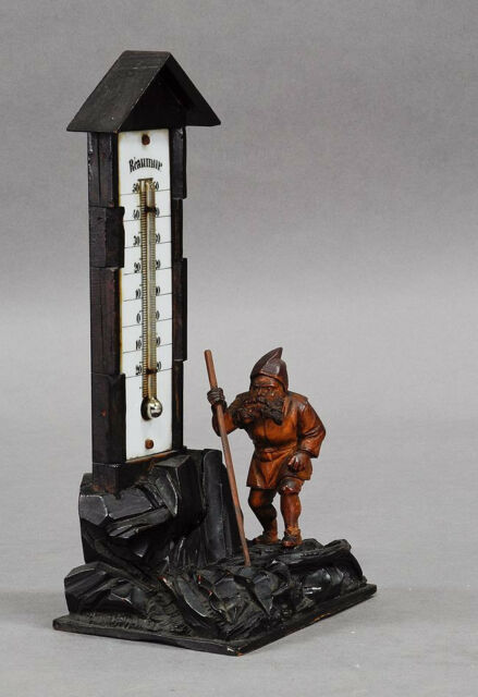 antique black forest carved wood dwarf thermometer stand ca. 1900