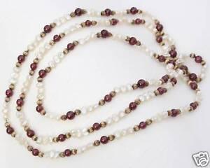 Perlenkette-Perlenhalskette-Suesswasserperlen-Perlen-Silber-Granat-Kette-Collier
