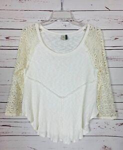 Paper-Crane-Anthropologie-Women-039-s-M-Medium-Ivory-Lace-Cute-Fall-Top-Blouse-Shirt