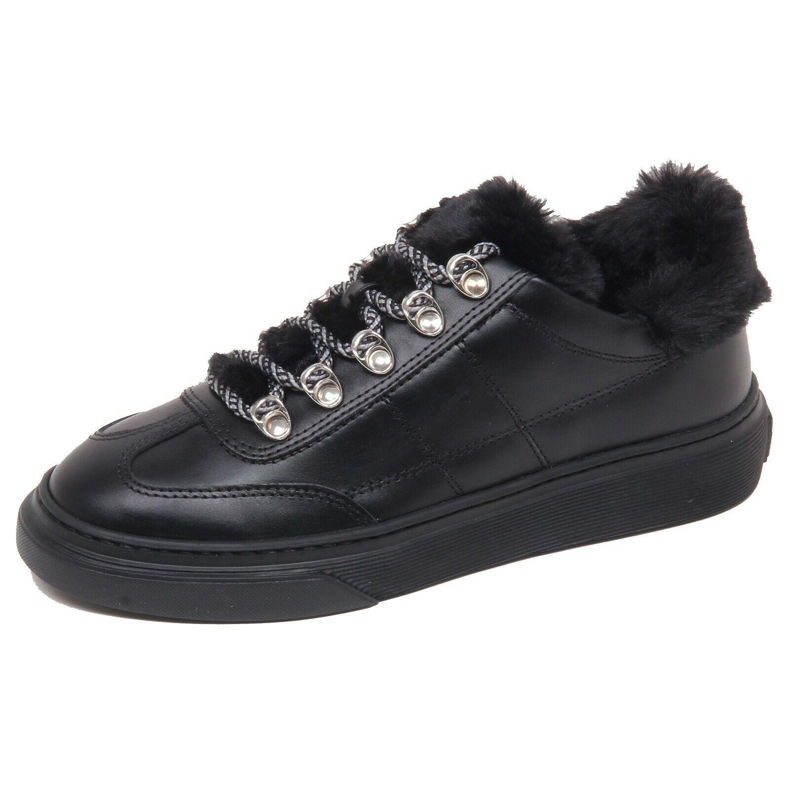 F6362 Turnschuhe damen schwarz HOGAN H365 leather eco fur inside schuhe woman