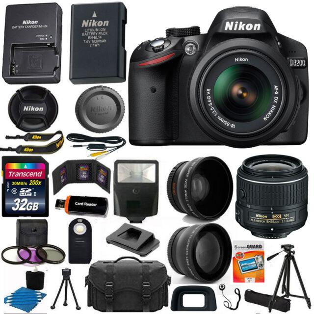 Nikon D3200 Digital SLR Camera 3 Lens Kit: 18-55mm VR II +32GB Best Value Bundle