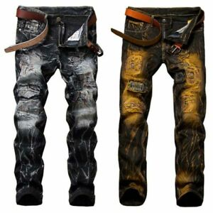 Men-039-s-Skinny-Biker-Jeans-Slim-Fit-Denim-Pants-Stretchy-Ripped-Destroyed-Trousers