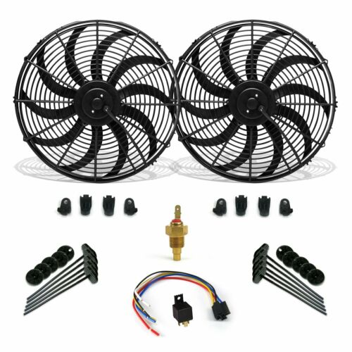 """Super Cool Pack 10/"""" S Blade Fans Fixed Temp Switch Harness Bracket Additive"""
