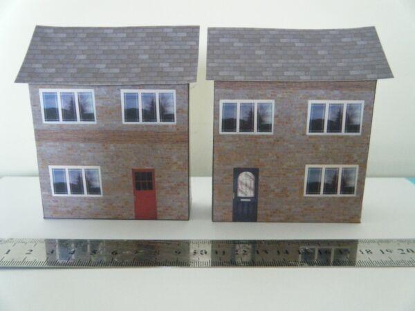 .scratch Built Card Model Railway Houses Terraced Half Low Relief 00 Gauge Prezzo Di Vendita