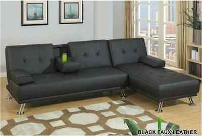 Contemporary Design Adjustable Sofa Chaise Black Faux Leather Living Room  Couch   eBay