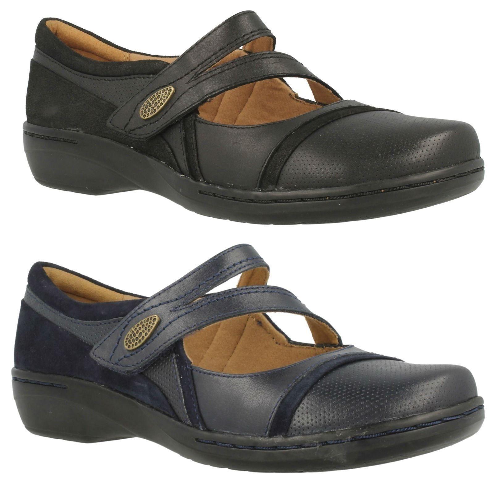 Clarks Evianna Crown Señoras Señoras Señoras De Cuero Mary Jane Zapatos informales Riptape peso ligero  a la venta