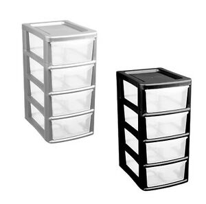 Plastic-4-Drawer-Small-Tower-Storage-Unit-Office-  sc 1 st  eBay & Plastic 4 Drawer Small Tower Storage Unit Office School Home ...