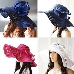 Ladies Women Summer Sun Beach Floppy Derby Hat Wide Large Brim Straw ... 445712c27aa