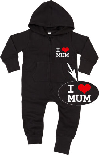 I LOVE MUM Baby All-in-one Sweatsuit black