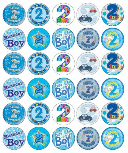 30 x 2nd Second Birthday Boy Blue Cupcake Toppers Edible Paper Fairy Cake Topper