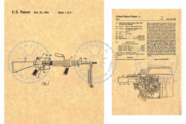 US COLT Automatic Firearm Armalite AR15 - M16 GUN Patent ~ Tatro 1984 M Schematic Diagram on ar-15 auto sear diagram, sks exploded diagram, m4 parts diagram, ar lower diagram, m4 assembly diagram, ak-47 schematic diagram, m1911 diagram, bad boy buggy parts diagram, handgun schematic diagram, m1 garand schematic diagram, m4 lower receiver diagram, pistol schematic diagram, sks schematic diagram, m16 accessories, rifle schematic diagram, colt ar-15 parts diagram, ar-15 nomenclature diagram, ar-15 schematic diagram, m4 nomenclature diagram, m4 schematic diagram,