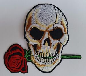 Skull-with-Rose-Iron-on-sew-On-patch-transfer-fancy-dress