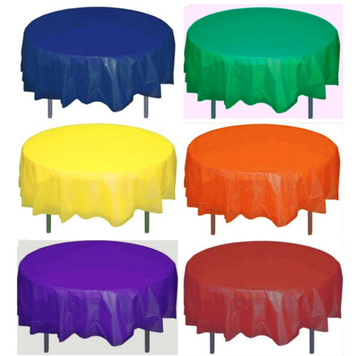 """Solid Colors 84/"""" Round Plastic Table Covers Tablecloths Party Tablecovers Inches"""