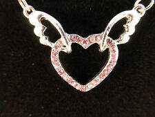 Ladies Silver Toned Pink Crystal Heart on Wing Pendant adjustable Chain Necklace