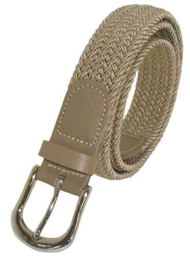 """501-1.25/"""" WIDE BEIGE NYLON BRAIDED STRETCH BELT IN SIZES TO FIT MOST"""