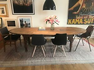 Details About Solid Wood Large Dining Table Oval Shape Dark Brown Good Condition