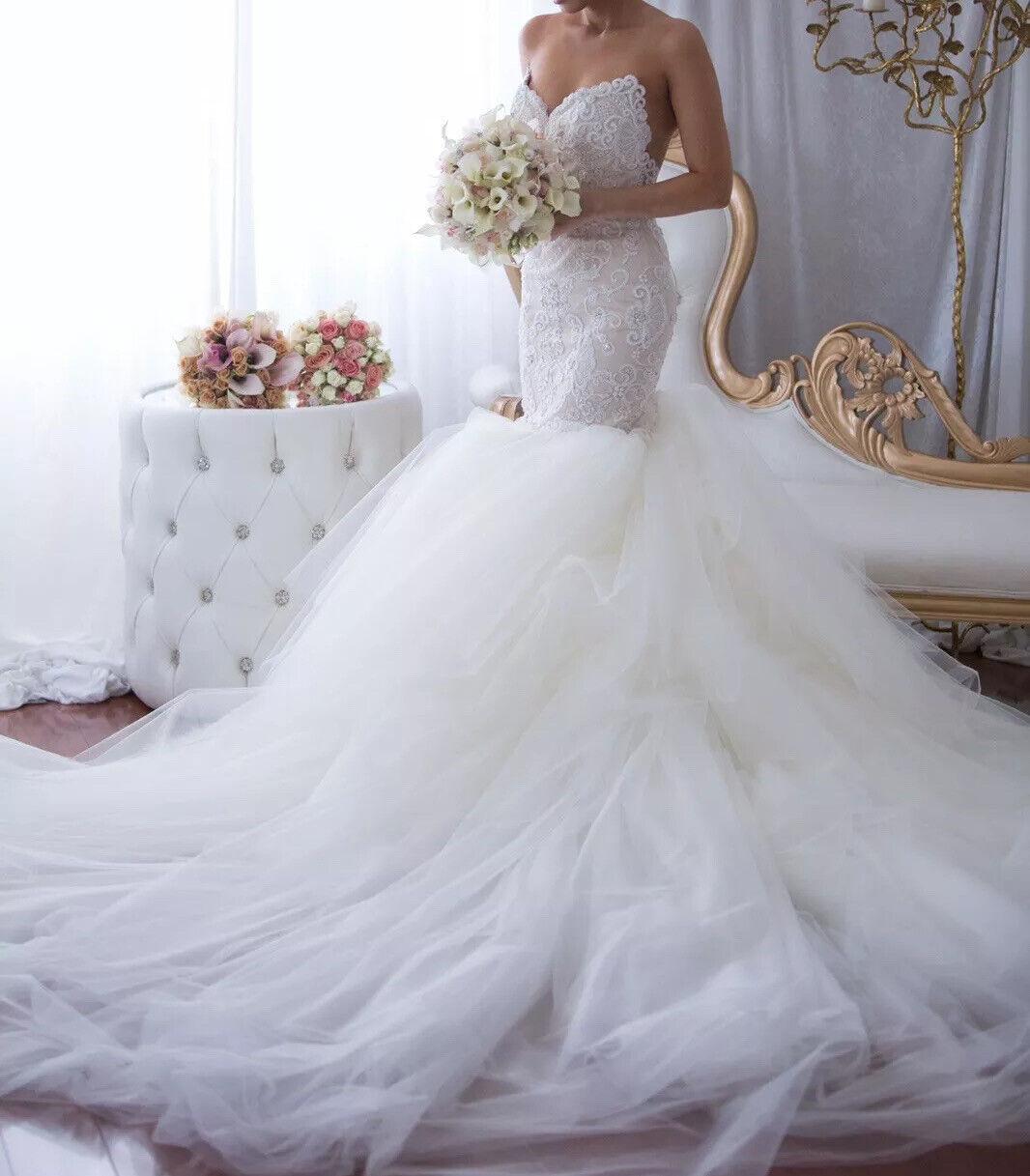 Custom lace crystal couture designer Wedding Dress - image 3