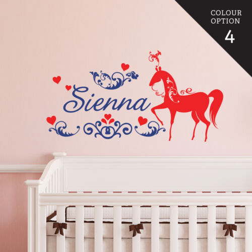 Custom Name Horse With Heart Wall Sticker Bedroom Hipster Cool Kids MS277VC