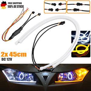2x 45CM Flexible LED Scheinwerfer DRL Tagfahrlicht Stripe Klebestreifen für Auto