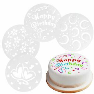 Set Of 4 Cake Decorating Stencils 15cm Happy Birthday Hearts Flowers Home Baking Ebay