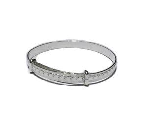 Baby Bangle Solid Silver Christening Plain Sterling Silver Adjustable Bracelet