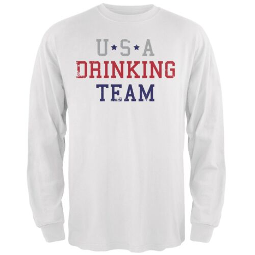 4th of July USA Drinking Team White Adult Long Sleeve T-Shirt
