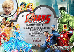Details About Personalized Birthday Invites Thank You Card Avengers Super Hero Disney Princess