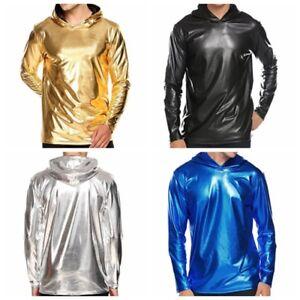 Men-039-s-Metallic-Shiny-Hoodies-Top-Clubwear-Long-Sleeve-Pullover-Hoody-Top-T-Shirt