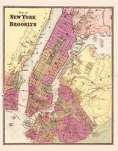 MAP-ANTIQUE-1868-ANON-NEW-YORK-BROOKLYN-CITY-PLAN-REPLICA-POSTER-PRINT-PAM1883