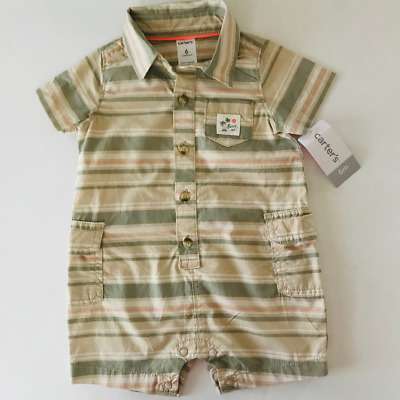 Carters Baby Boy 6 9 12 Months Button Front Cargo Romper Khaki Short Sleeves