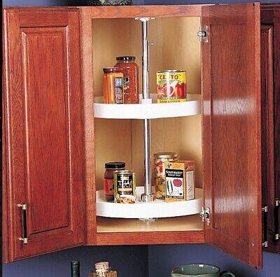 Home Upper Corner Cabinet Lazy Susan 2-Shelf Kitchen Storage Organizer White