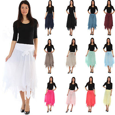 Ladies Lagenlook Lace Layer Summer Elasticated Maxi Skirt Gypsy Boho Size 10-22