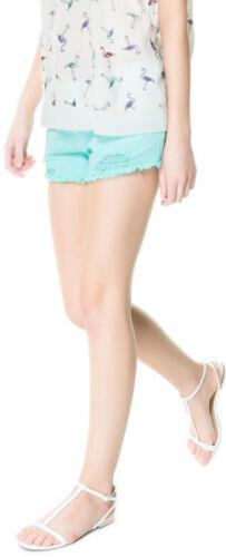 Zara WOMEN/'S LIGHT Turchese Blu Pantaloncini di jeans strappato 5 Tasche Taglia 6
