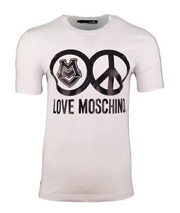 efbf11cb Image is loading LOVE-MOSCHINO-PEACE-LOGO-PRINT-T-SHIRT-WHITE-