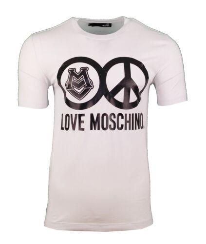 BNWT LOVE MOSCHINO PEACE LOGO PRINT T-SHIRT WHITE /& BLACK