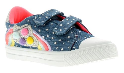 Buckle My Shoe Rainbow Filles Enfants Toile Chaussures Escarpins Baskets Bleu Taille UK