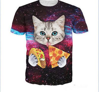 Women Men's Space Cat eating Tacos Pizza Top 3D Print Casual T-Shirt Cute GiftQ8