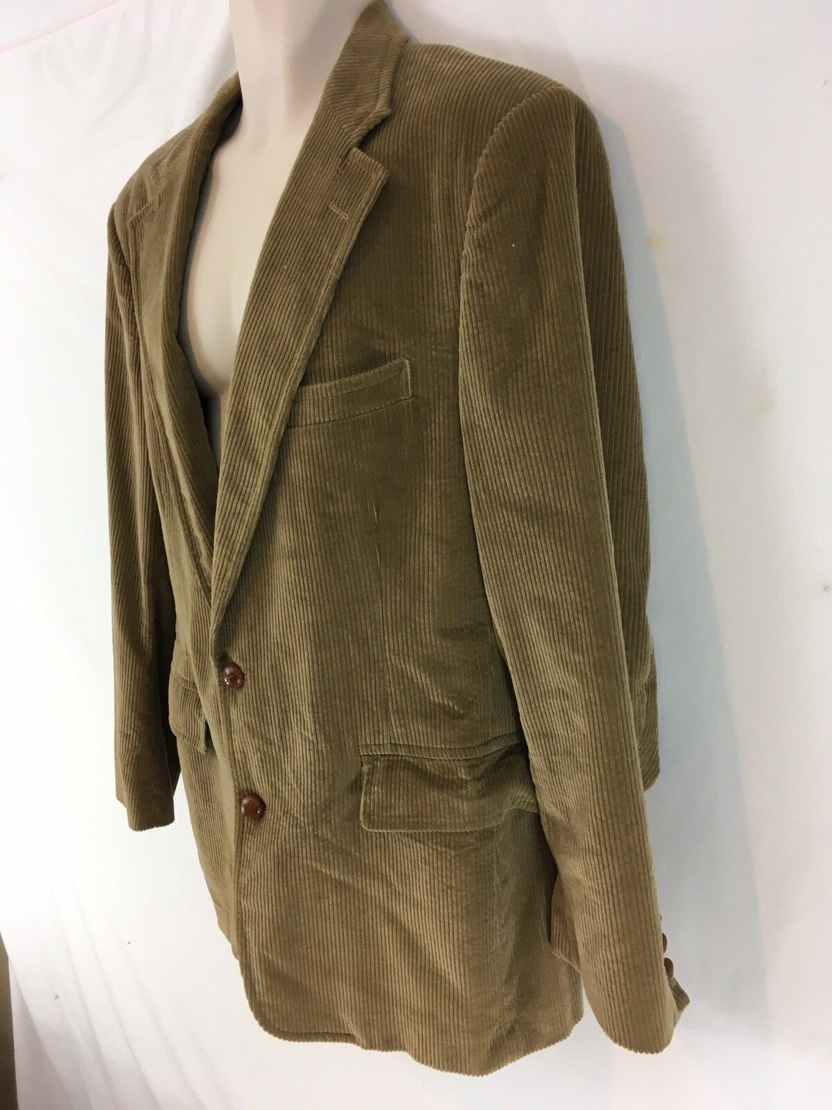 Brooks Brothers Mens 40R Tan USA Made Cotton Corduroy 2 Btn Blazer Sport Jacket