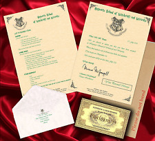 Hogwarts Acceptance Letter - Harry Potter Personalised Gift +FREE EXPRESS TICKET