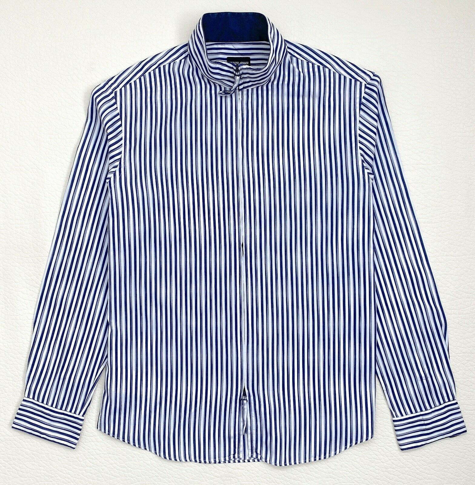 Giorgio Armani Cotton-Silk Collarless Shirt Sz.42-16.5