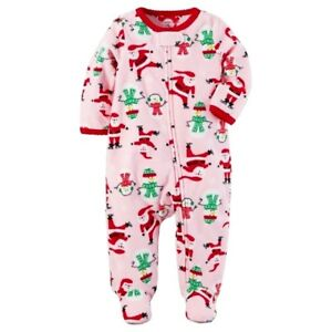 5491b3b6f2 CARTER S BABY GIRL 1PC CHRISTMAS SANTA CLAUS FLEECE FOOTED SLEEPER ...