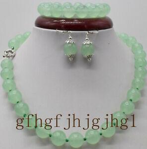 12mm-Light-Green-100-Natural-A-JADE-JADEITE-Round-Beads-Necklace-Set-AAA