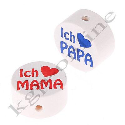 Scheibe I ♥ Mama / I ♥ Papa  / Motivperle / Motivperlen / Holzperlen